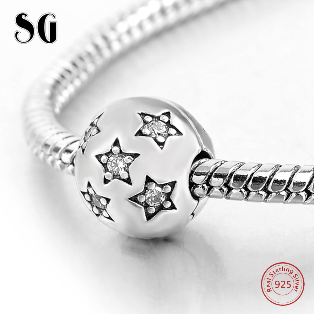 925 Sterling Silver Star With Cubic Zirconia Round Pendant Fit Authentic Pandora Charms Bracelet Beads For Women Fashion Jewelry