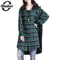 Oladivi Brand Apparel Plus Size Women Casual Loose Plaid Shirt Tops Fashion Ladies Hooded Blouses Spring Autumn Long Tunic Blusa