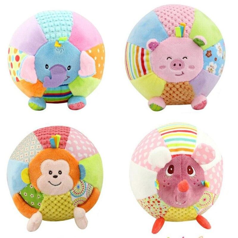 Baby Sound Cloth Toy Djur Ball För Barn Aktivitet Baby Leksaker Cartoon Pink Pig Monkey Soft Jouet Tidig utbildningsboll WJ370