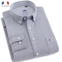 LANGMENG 100 Cotton Solid Color Mens Long Sleeve Dress Shirt Men Striped Oxford Shirt High Quality