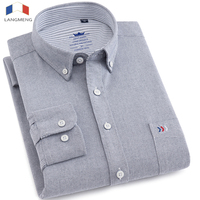 LANGMENG 100 Cotton Solid Color Mens Long Sleeve Dress Shirt Men Striped Oxford Shirt High Quality
