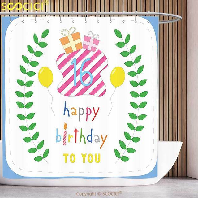 Waterproof Shower Curtain 16th Birthday Decorations Cute