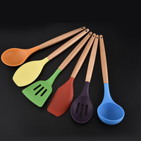 Wooden Handle Color Silicone Kitchenware 6 Sets Not Sticky Pot Environmental Protection Cooking Shovel Spoon Tools