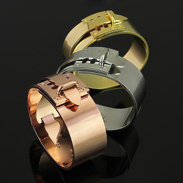 Brand 316L stainless steel H belt bracelet bangle for women wide shaped Bracelet punk jewelry