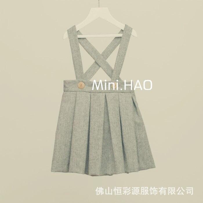 Brand Baby Girl Slip Dress woolen Braces Dress Children Casual Vest england Dress Kids Fashion Clothing