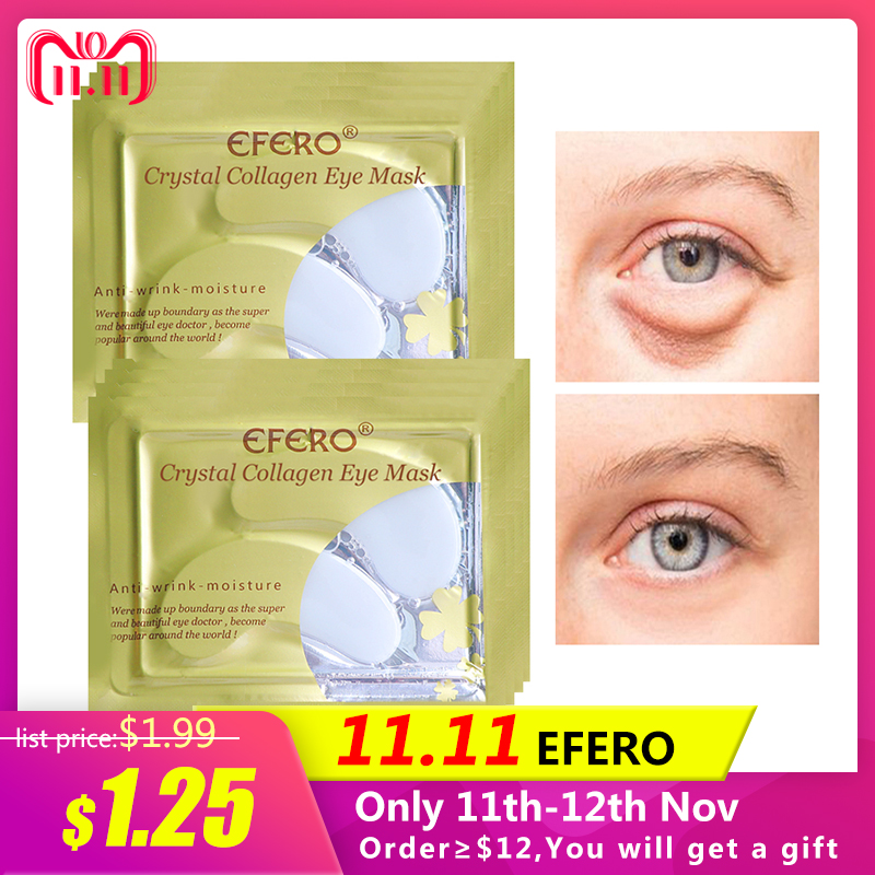 EFERO 5Pairs Collagen Crystal Eye Mask Gel Eye Patch Pad Mask For Eye Care Eliminates Dark Circles Moisturizing Cream Puffiness recette merveilleuse ultra eye contour gel by stendhal for women 0 5 oz gel