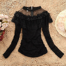 Sexy See Through Cold Shoulder Mesh Chiffon Long Sleeves Stand Collar Blouse Women Fashion Vintage Lace Ruffled Velvet Top Shirt
