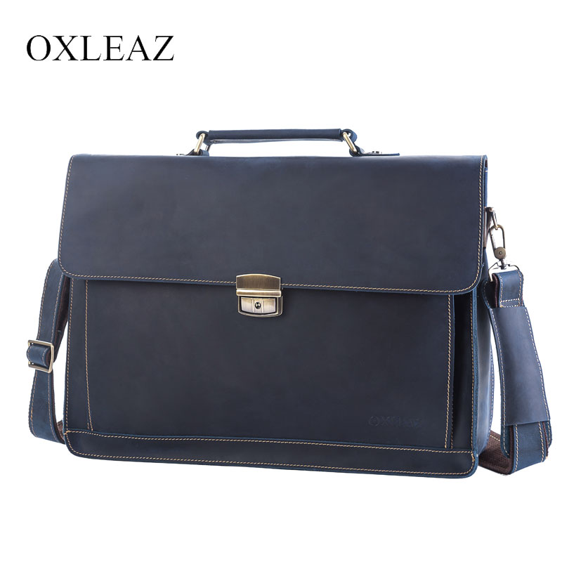"OXLEAZ Male 15.6"" Men's Leather Briefcases Men Business Genuine Leather Briefcase Vintage Laptop Handbag Computer Bags For Men(China)"