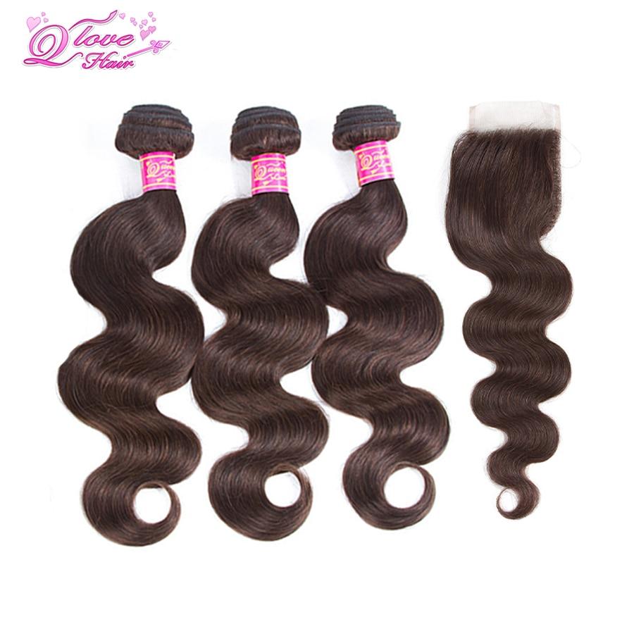 Queen Любовь волос предварительно Цветной перуанский Средства ухода за кожей волна Синтетическое закрытие волос с 4 пучки волос 100% человеческ...