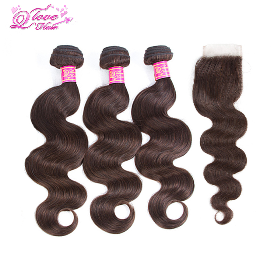 Queen Love Hair Pre-Colored Peruvian Body Wave Closure With 3 Bundles Hair 100% Human Hairs #2 Color Non Remy Hair