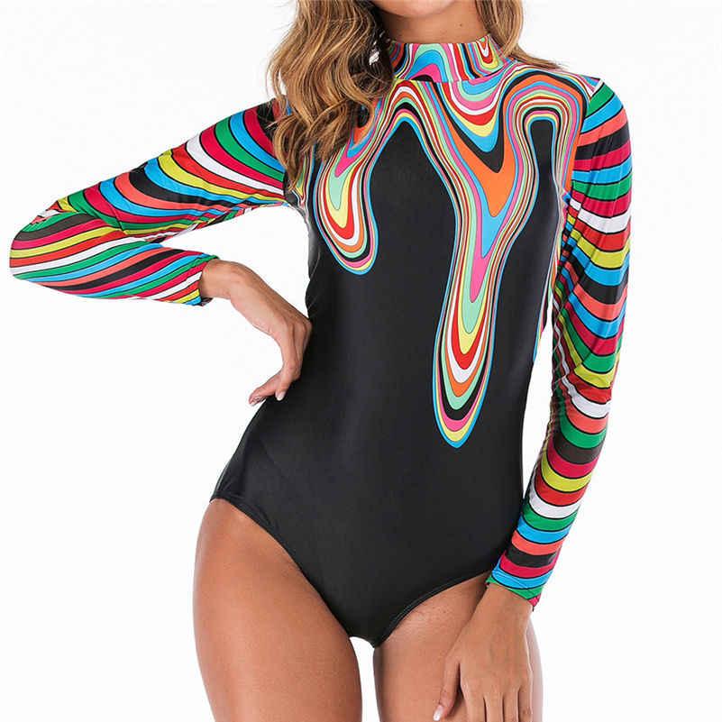 Ruam Penjaga 2019 Lengan Panjang Wanita Surf Baju Renang Floral Daun One Piece Swimsuit untuk Menyelam Renang Cocok K Berlaku Pakaian Selam 4as