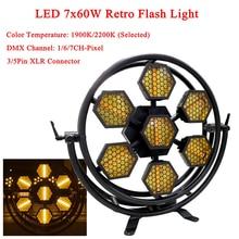 LED 7X60W Retro Flash Lights Color Temperature 1900K/2200K LED Stage Dj Wash Lighting Effect DMX Controller Disco Party Li цена 2017