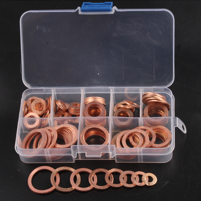120Pcs/Set Solid Copper Crush Washers 8 Sizes Assorted Seal M6-M20 Flat Ring Set for Hardware Accessories Kit with Box 120pcs lot 0410 dip 1 2w 12 kinds color ring inductance each 10 inductors assorted set kit