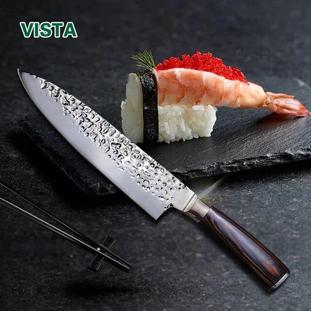 """Кухонные ножи 8 """"дюймов Нержавеющаясталь шеф-повар Ножи высокое Класс 7Cr17 замороженное мясо резак деревянной ручкой вдавливание лезвие Пособия по кулинарии Инструменты"""