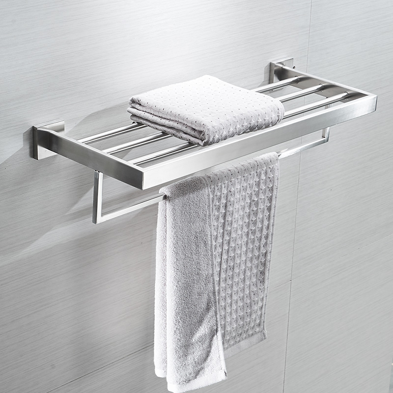 AUSWIND modern Square base 304 stainless steel polish towel rack silver double layer towel shelf wall mount bathroom product