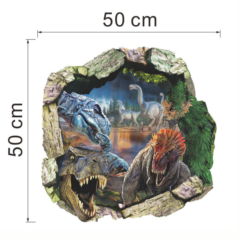 Dinosaur Dünya Divar Etiketləri 3D Ev Dekorasiya Çıkarılabilir - Ev dekoru - Fotoqrafiya 2