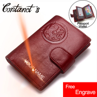 Free Engrave HOT Passport Cover Wallet For Men Cowhide Leather Passport Holder Business Travel Protector Cover