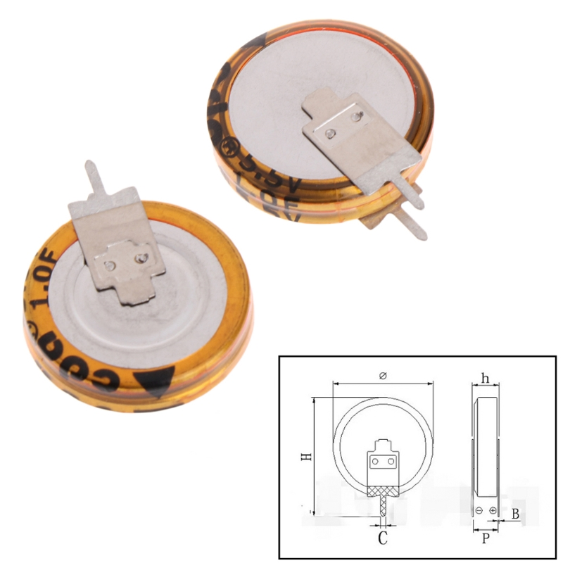 2 Pcs Universal 5.5 V 1.0F Super Capacitor V-Type Button Smart 5mm Capacitance Whosale&Dropship