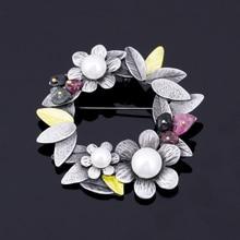 Vintage Flower With  Pearl Pins Brooch