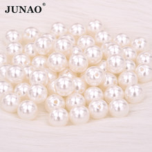 JUNAO 3 4 6 8 10 12 16 18 20 25mm Sewing White Pearl Beads Round Pearl Applique For DIY Clothes Bracelet Jewelry Making Crafts(China)