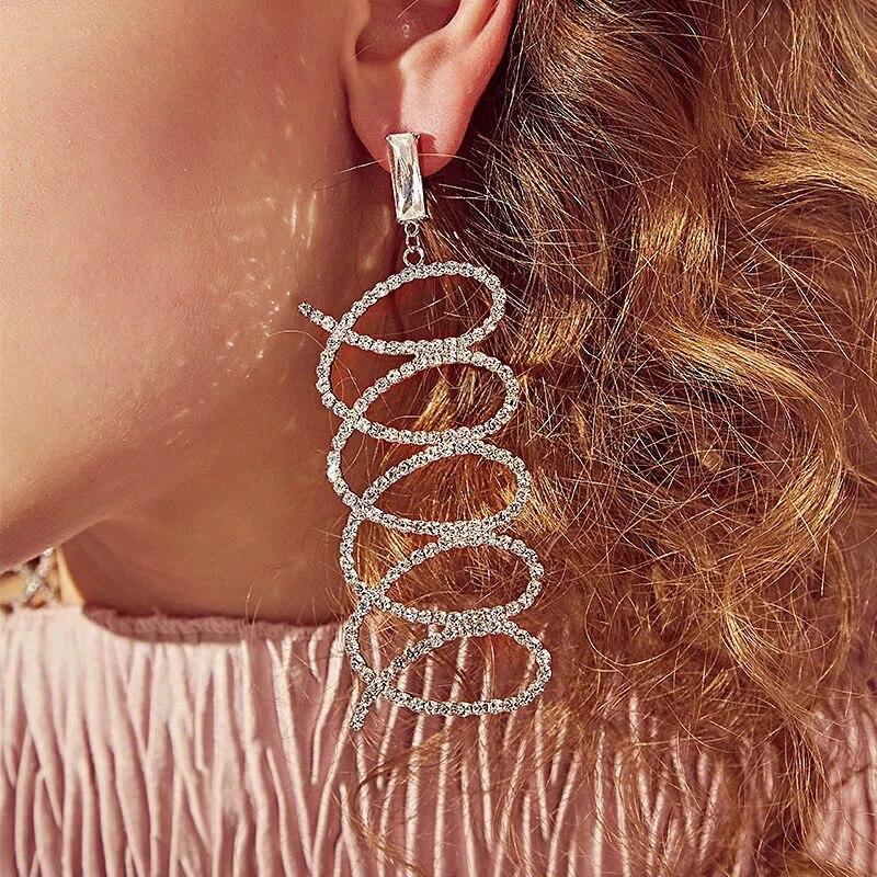 Jewelry Geometric Circle Intersect Dangle Earrings Rhinestone Fully-jewelled Long Drop Earrings For Women Earings