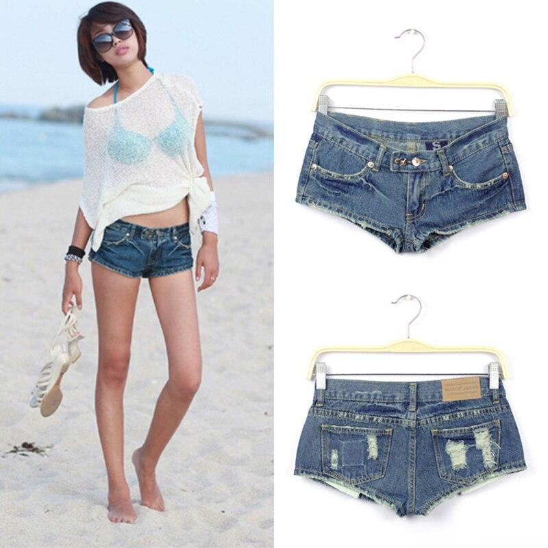 Shorts   women 2019 Mini denim   shorts   sexy hot jeans women's   shorts   jeans Retro hole pocket blue   shorts   9283#