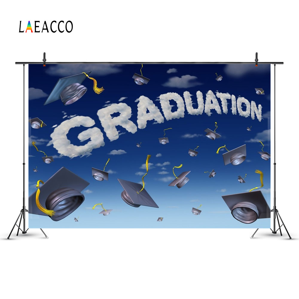 Laeacco Cartoon Sky Bakalářské Cap Graduation Fotografické - Videokamery a fotoaparáty - Fotografie 2