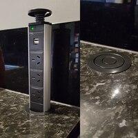 220V 16A POP UP Electrical 3 Power Socket 2 USB Outlet Kitchen Table Socket Retractable For