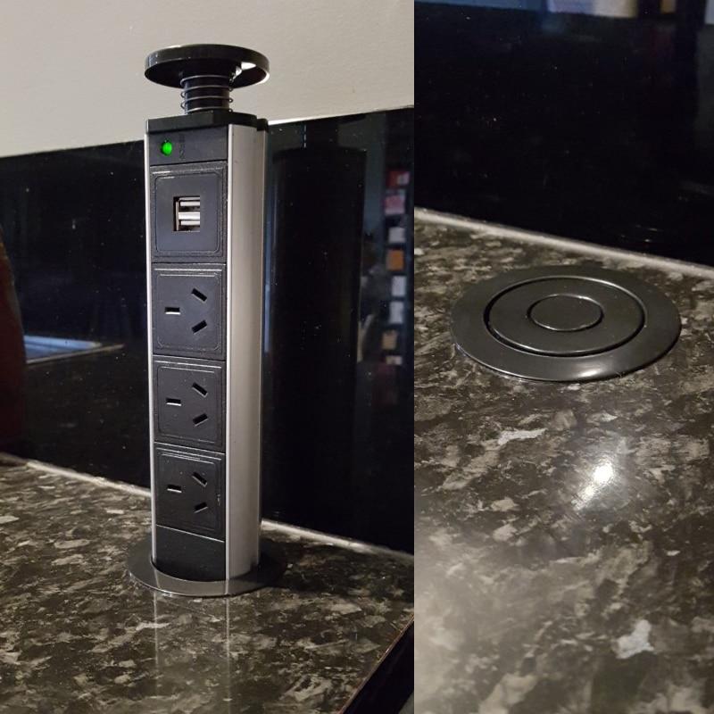 220 V 16A POP UP électrique 3 prise de courant 2 prise USB cuisine Table prise rétractable pour comptoirs plan de travail UK/EU/AU/US prise