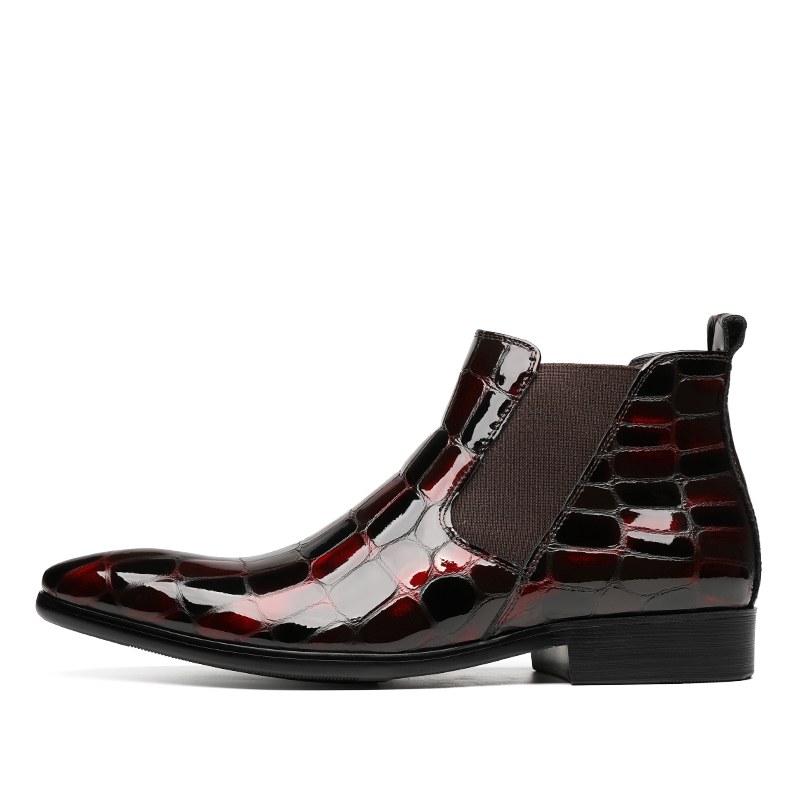 Fashion Black / Wine Red Crocodile Grain Chelsea Boots Mens Dress Boots Patent Leather Wedding Shoes Male Ankle Boots