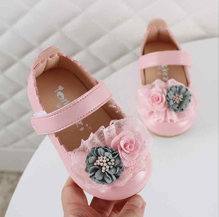 2019 ฤดูใบไม้ผลิใหม่ลูกไม้ดอกไม้ทารกเจ้าหญิงรองเท้าเด็กหนังรองเท้าเด็กวัยหัดเดินรองเท้าเด็ก 0-4 ปี