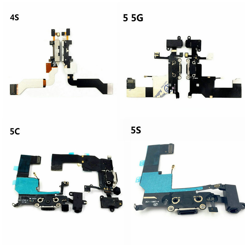 Original Charging Flex For IPhone 4S 5 5C 5S SE USB Charger Board Port Dock Connector With Mic Flex Cable For IPhone 4s