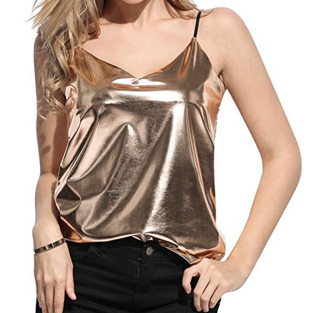 Women Shiny Patent Leather Spaghetti Shoulder Straps Sleeveless Vest   Top   Metallic Girls Dance Costumes Clubwear   Tank     Top