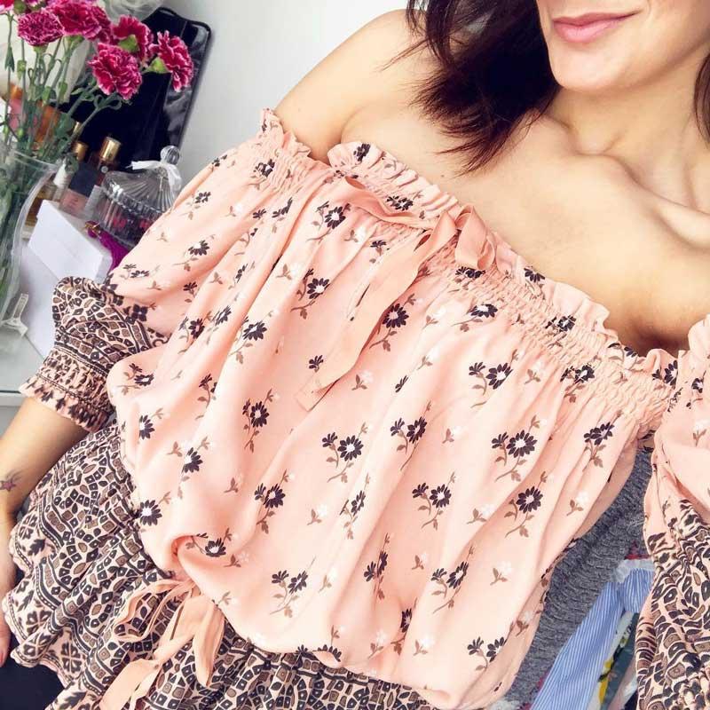 2018 Femmes Off Blouse Cordon Inspird Blusas Manches Floral The Taille Top Chic Bohème Shoulder Boho Imprimé 1pgqwx