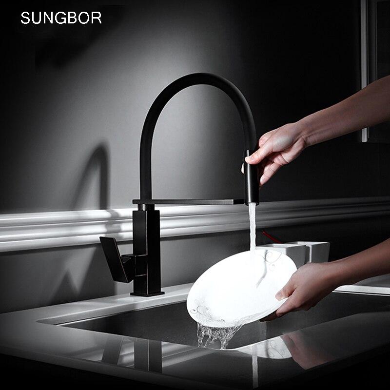 Torneira Cozinha Kitchen Faucets Hot Cold Black Water Basin Sink Cozinha Taps Mixers Torneira De Cozinha Crane For Kitchen CF510
