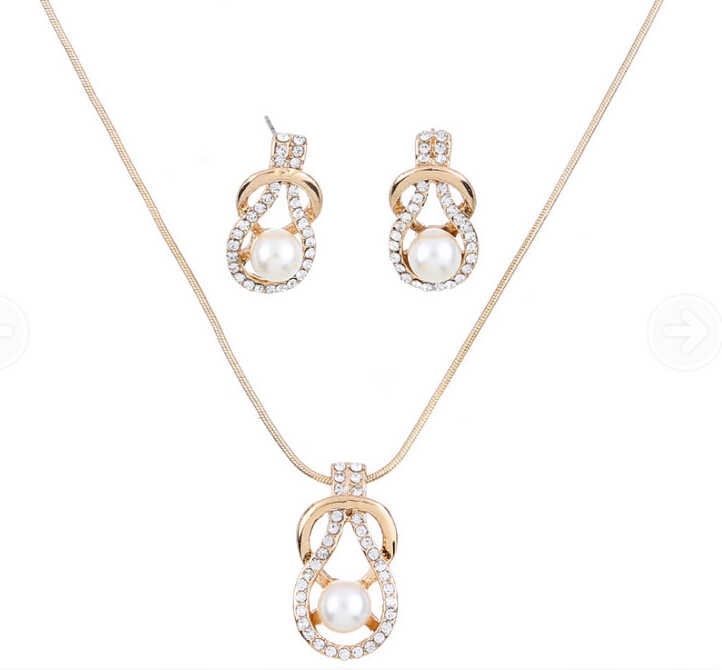 Geometry Imitation Pearl Design Refinement Jewelry Necklace Earrings 2 Pcs Fashion Jewelry