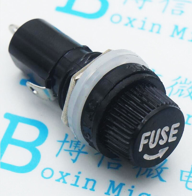 10pcs/lot 5*20mm glass fuse holders 5×20 black insurance tube socket fuse holder for 5*20 insurance Panel Mount Fuse Holder