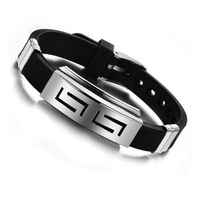2015 Explosion models Fashion Wristband black Punk Rubber Silicone Stainless Steel Men Bracelets Bangles pulseras hombre caucho