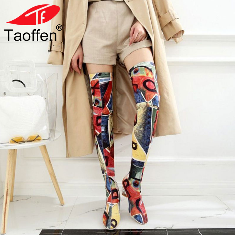 TAOFFEN Female Autumn Winter Thigh High Boots High Heels Women Over The Knee Botas Ankle Boots Mujer Shoes Plus Size 43 spring autumn winter platform high heels ankle boots women short boots ladies shoes botas botte femme plus size 34 40 41 42 43