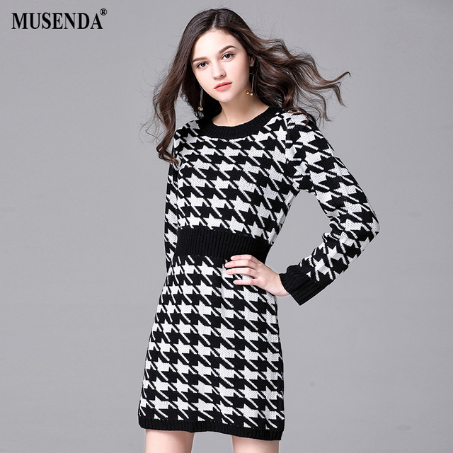 92950076518 MUSENDA Plus Size Women Black Houndstooth Knitting Stretch Short Sweater Dress  2017 Autumn Female Dresses Vestido Clothing Robe