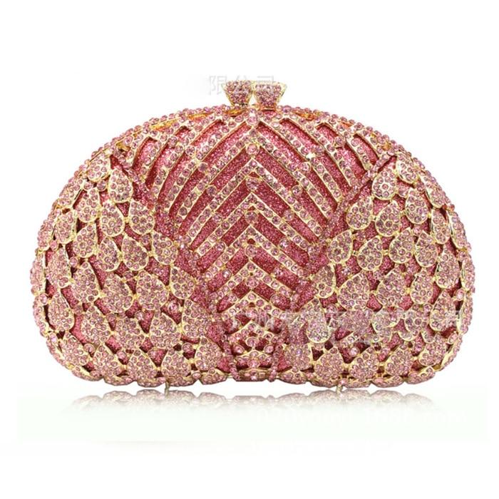 XIYUAN BRAND Luxury Fashion Full Crystal Evening Clutch Bag sparkly pink Long Designer pochette Wedding Party Purse Bag black