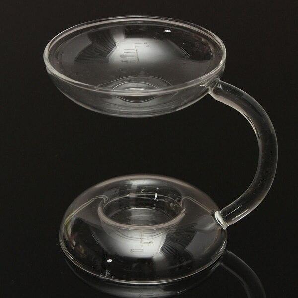 Арамис прозрачный стеклянный двухслойный подсвечник подставка для свечей с ручкой
