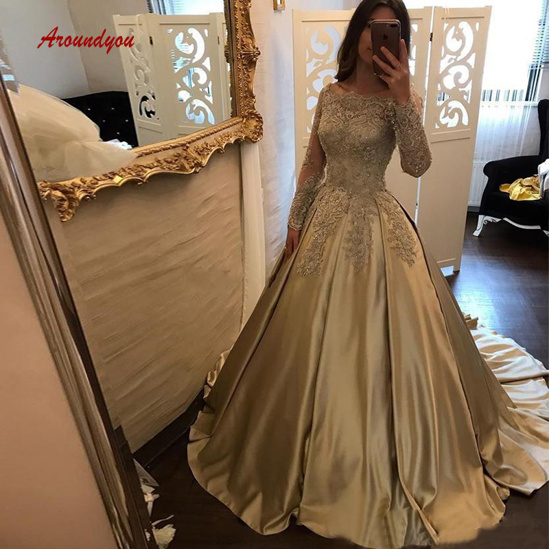 1853a62391d30 Gold Satin Princess Ball Gown Quinceanera Dresses Off Shoulder Lace ...