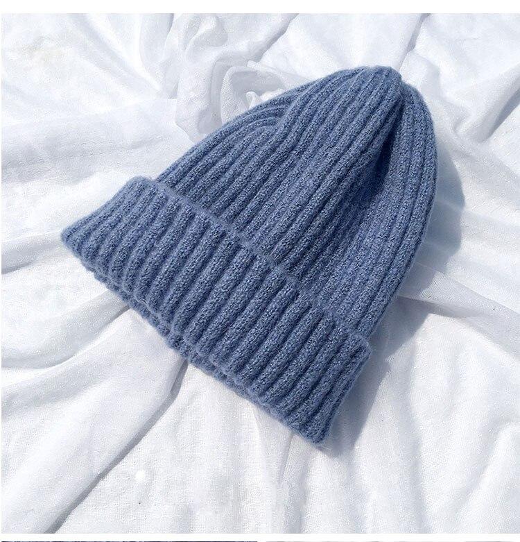 beanie women winter hats for women thick wool skullies beanies for ladies winter beanie hat solid pink black women hats winter hat  (9)