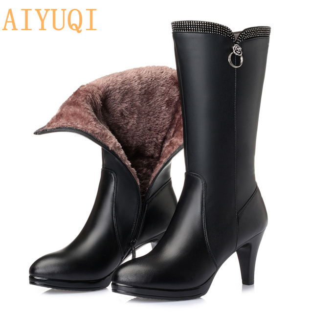 cd05a3239a5 US $76.9 |AIYUQI 2019 Winter Boots Genuine Leather high heeled women long  boots Australia wool lined warm snow boots Lady Fashion shoes-in Mid-Calf  ...