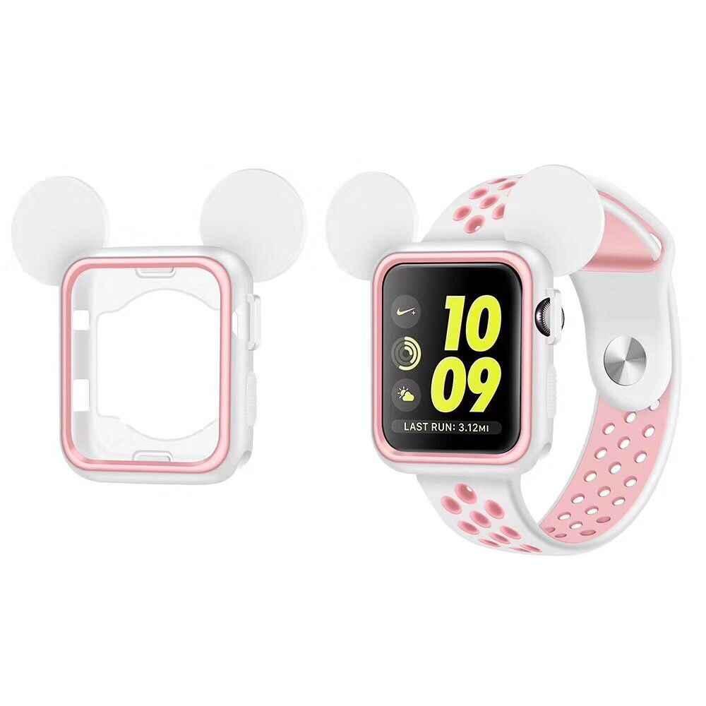 5 видов цветов мягкий прорезиненный чехол запасной чехол для Apple Watch, версии силиконовая Обложка Микки Nike + ремешок для наручных часов iwatch серии 3/2/1 38 мм 42 мм