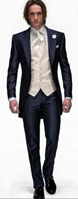 Fashion 2014 New Style Navy Blue One Button Groom Tuxedos Best Man Peak Lapel Groomsmen Men Wedding Suits Bridegroom (Jacket+Pants+Tie+Vest) (1)