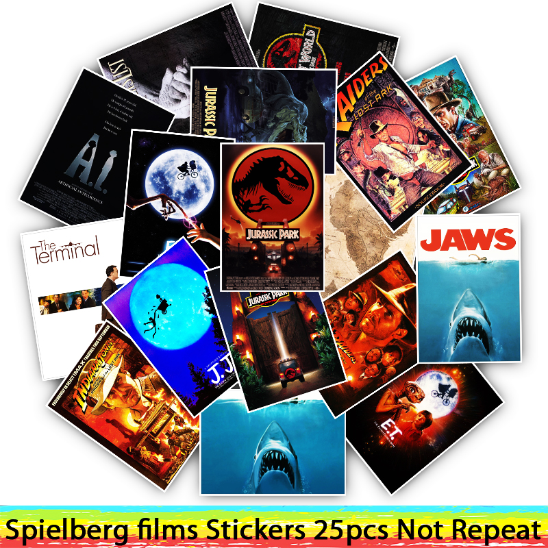 25pcs E.T. /JAWS/The Termina/Jurassic Park Spielberg Movie Stickers For Motorcycle Luggage Cool Funny Sticker Decals