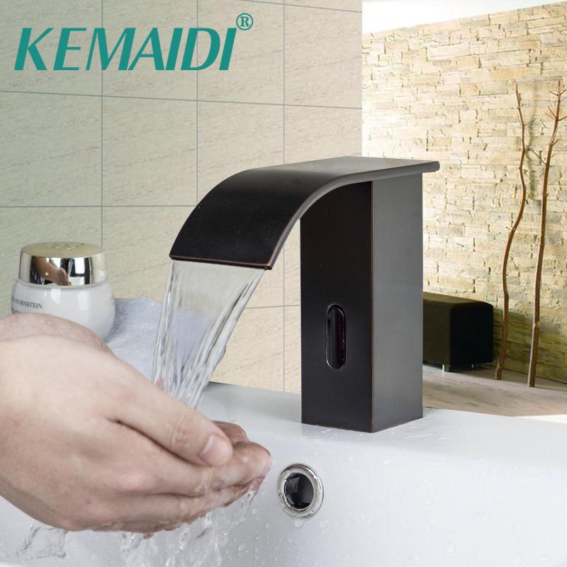 KEMAIDI Bathroom Basin Faucet Luxury Sense Faucets Sink Mixer Oil Rubber Brushed Waterfall Single Handle Hole Tap Deck Mounted becola basin faucet luxury bathroom golden mixer single handle single hole deck mounted waterfall tap lt 509 free shipping