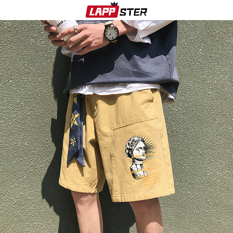 LAPPSTER Men Casual Streetwear Summer Shorts Khaki 2020 Free Ribbons Hip Hop Sweat Shorts Cargo Harajuku Shorts For Man Casual
